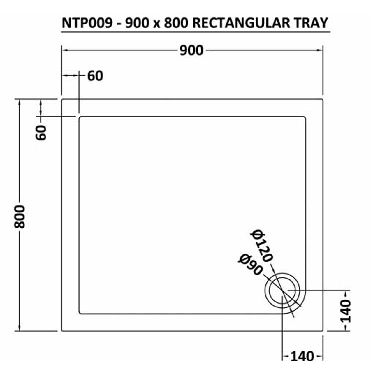 Premier Pearlstone 900mm x 800mm x 40mm Rectangular Shower Tray with Corner Waste - NTP009
