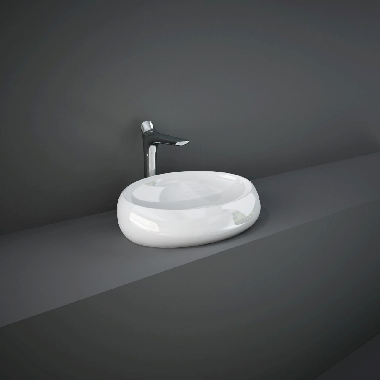 RAK Cloud Gloss Alpine White 600mm Counter Top Basin without Overflow - CLOCT6000AWHA