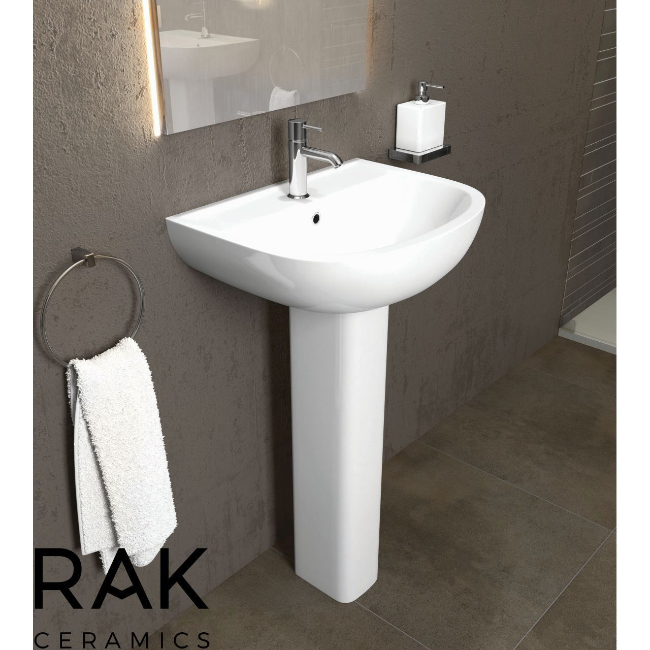 RAK Compact 450mm Basin with 2 Tap Holes and Small Pedestal