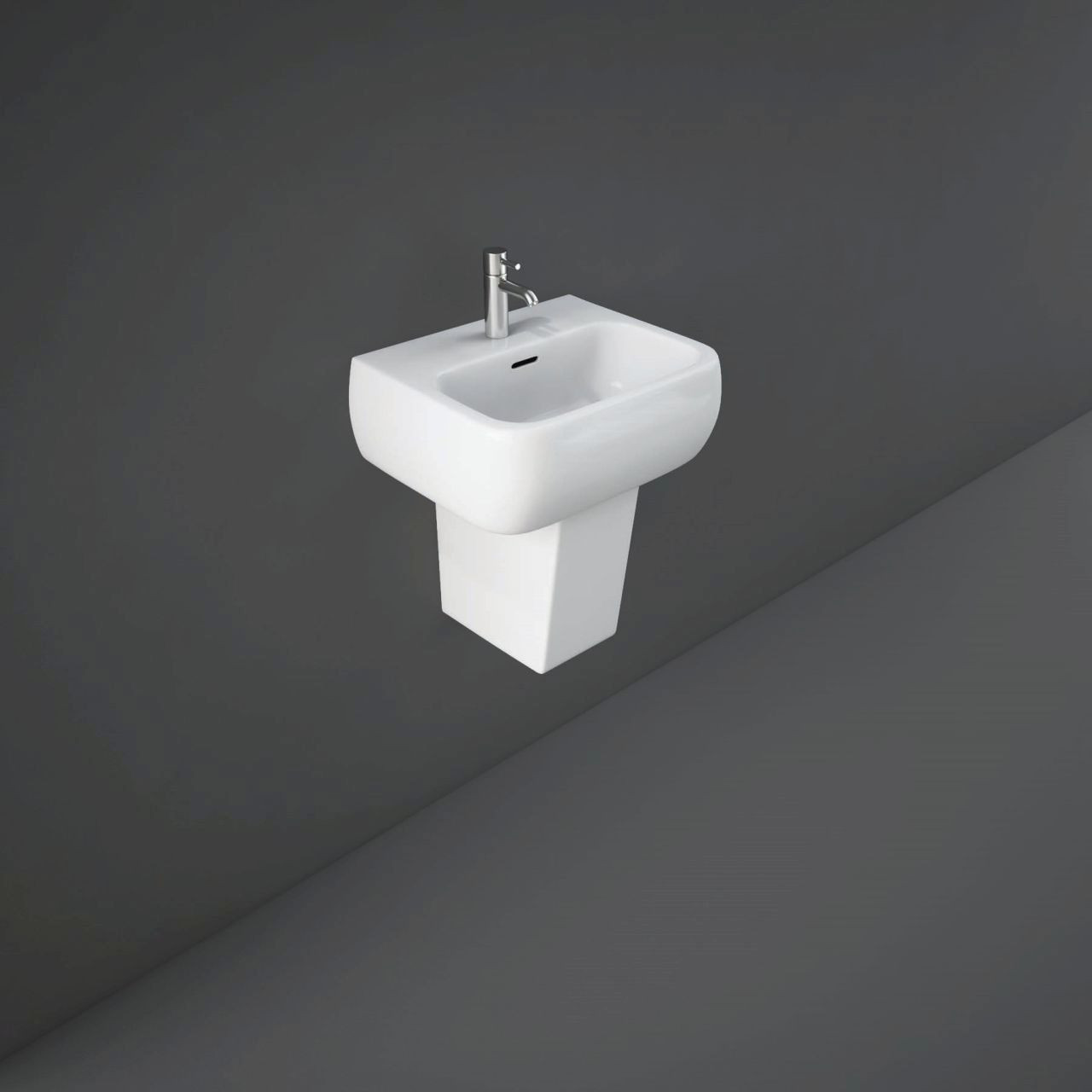 RAK Metropolitan 420mm Basin with 2 Tap Holes and Semi Pedestal