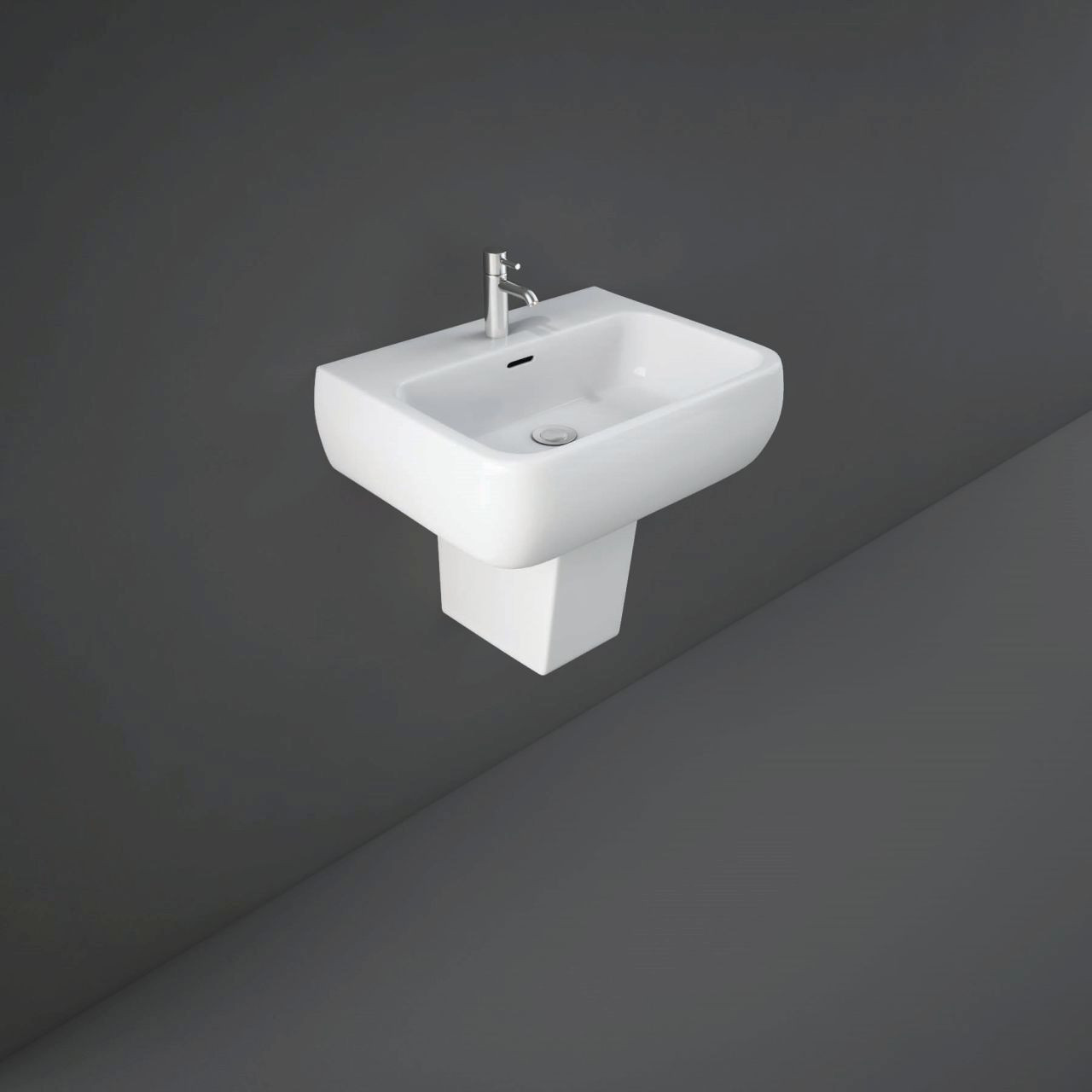 RAK Metropolitan 520mm Basin with 2 Tap Holes and Semi Pedestal
