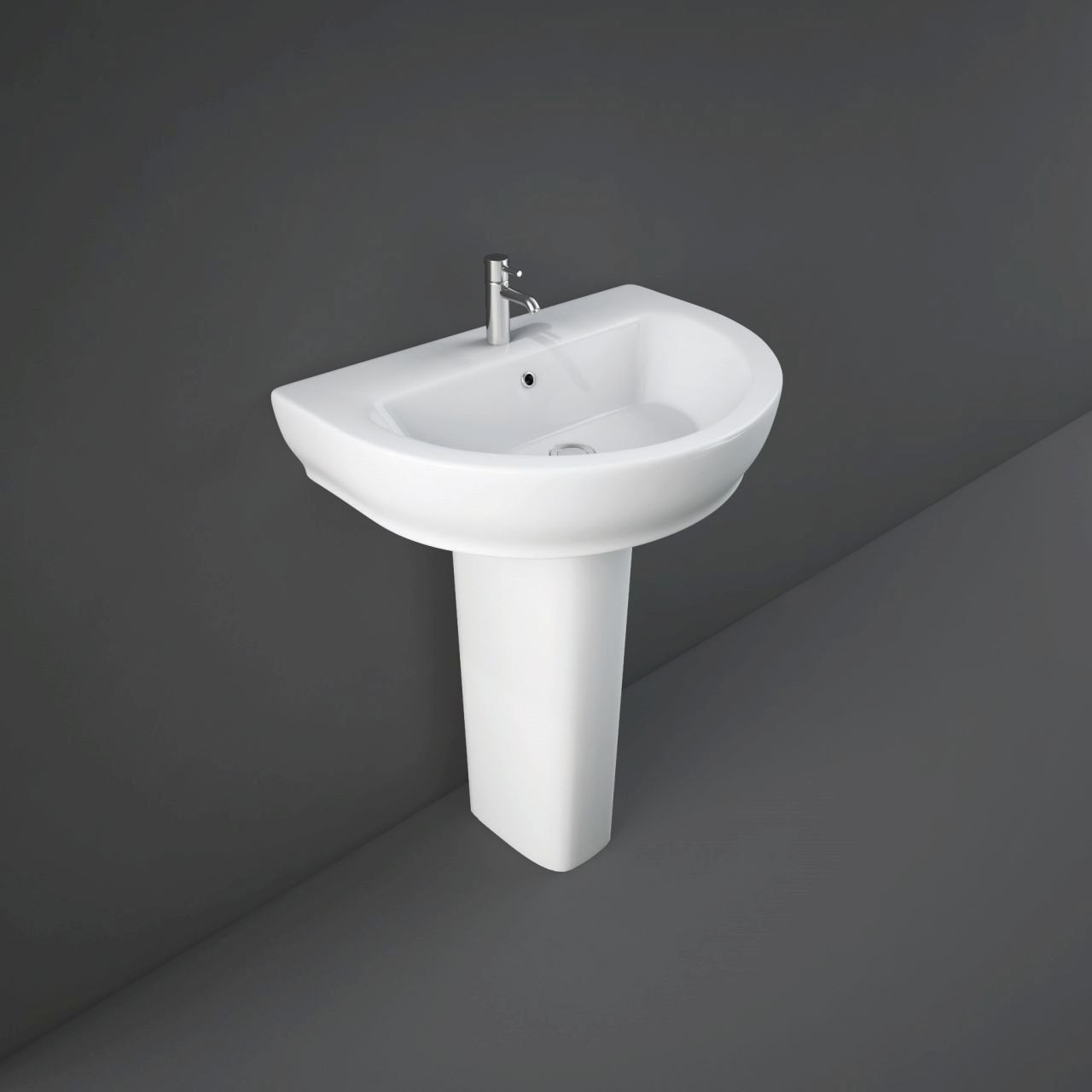 RAK Moon 650mm Basin with 1 Tap Hole and Full Pedestal