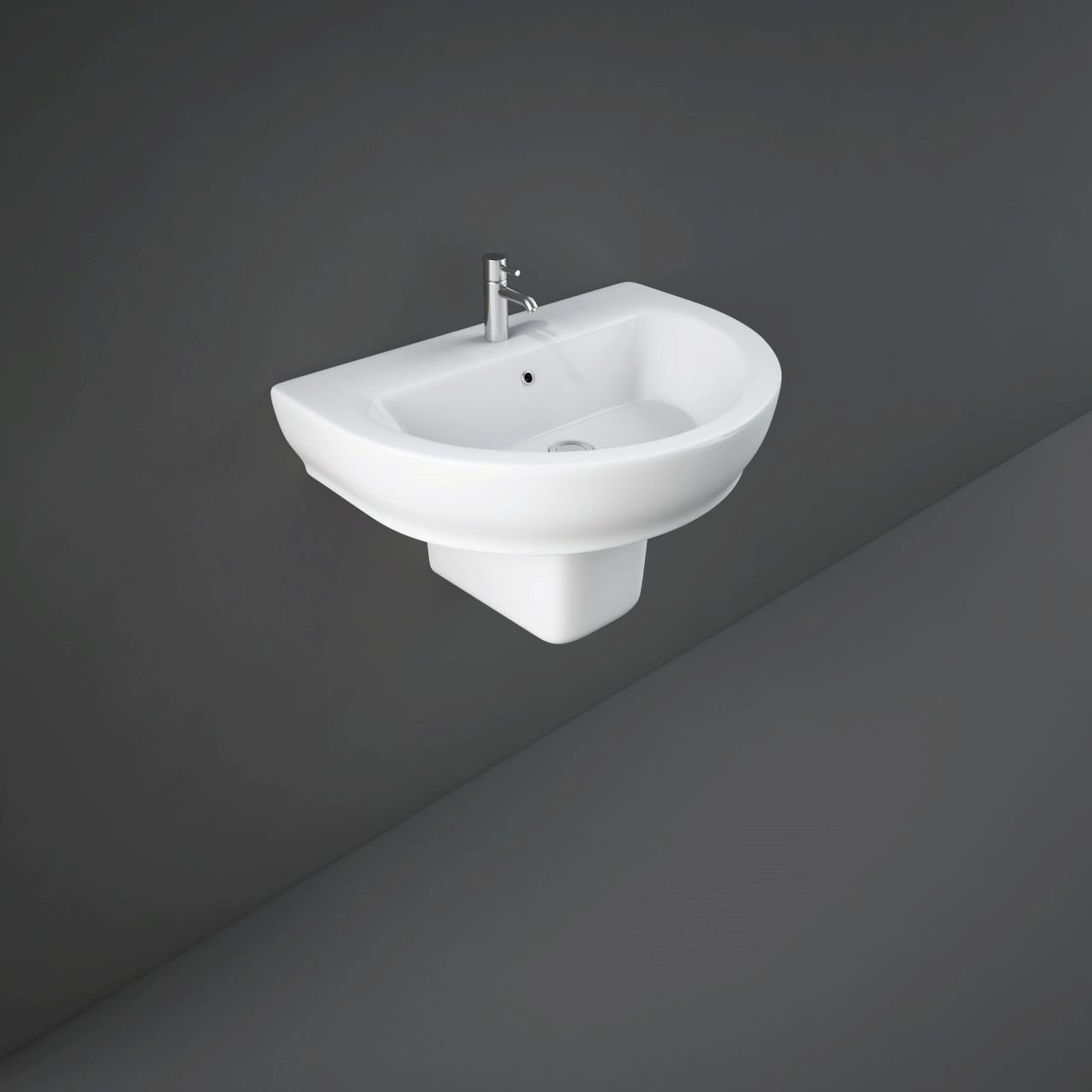 RAK Moon 800mm Basin with 1 Tap Hole and Semi Pedestal