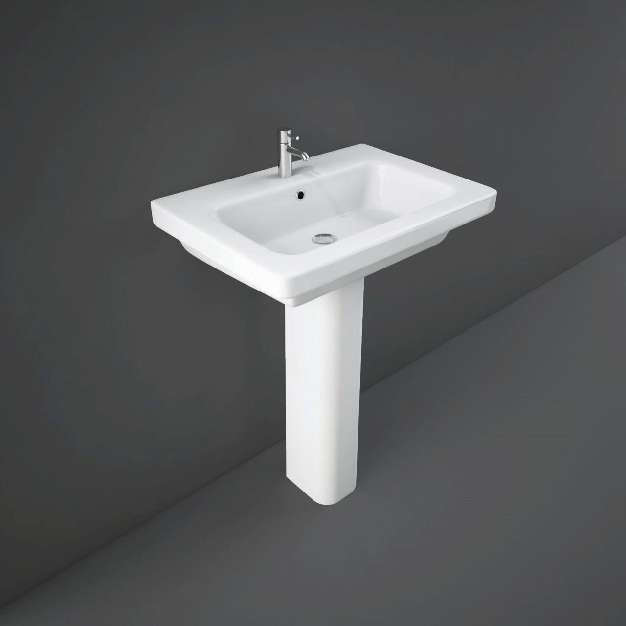 RAK Resort 650mm Basin with 1 Tap Hole and Extended Pedestal