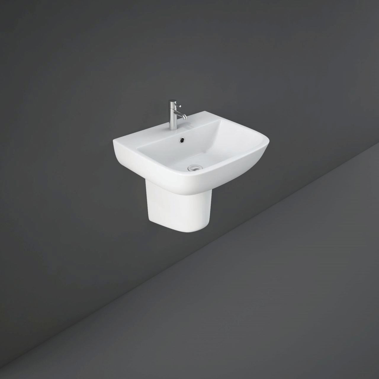 RAK Series 600 520mm Basin with 2 Tap Holes and Half Pedestal