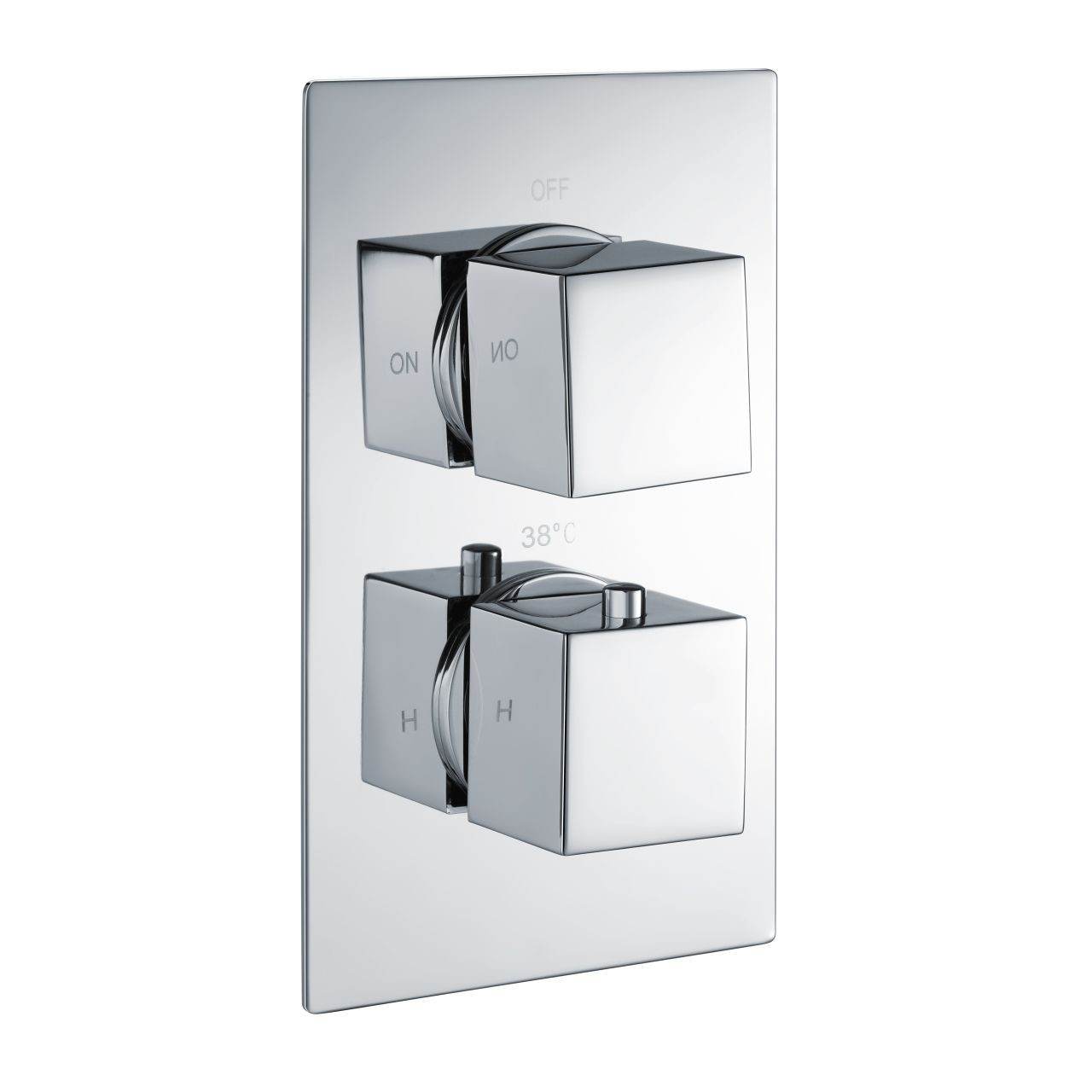 RAK Square Concealed 2 Handle Thermostatic Single Control Shower Valve - RAKSHW3201S