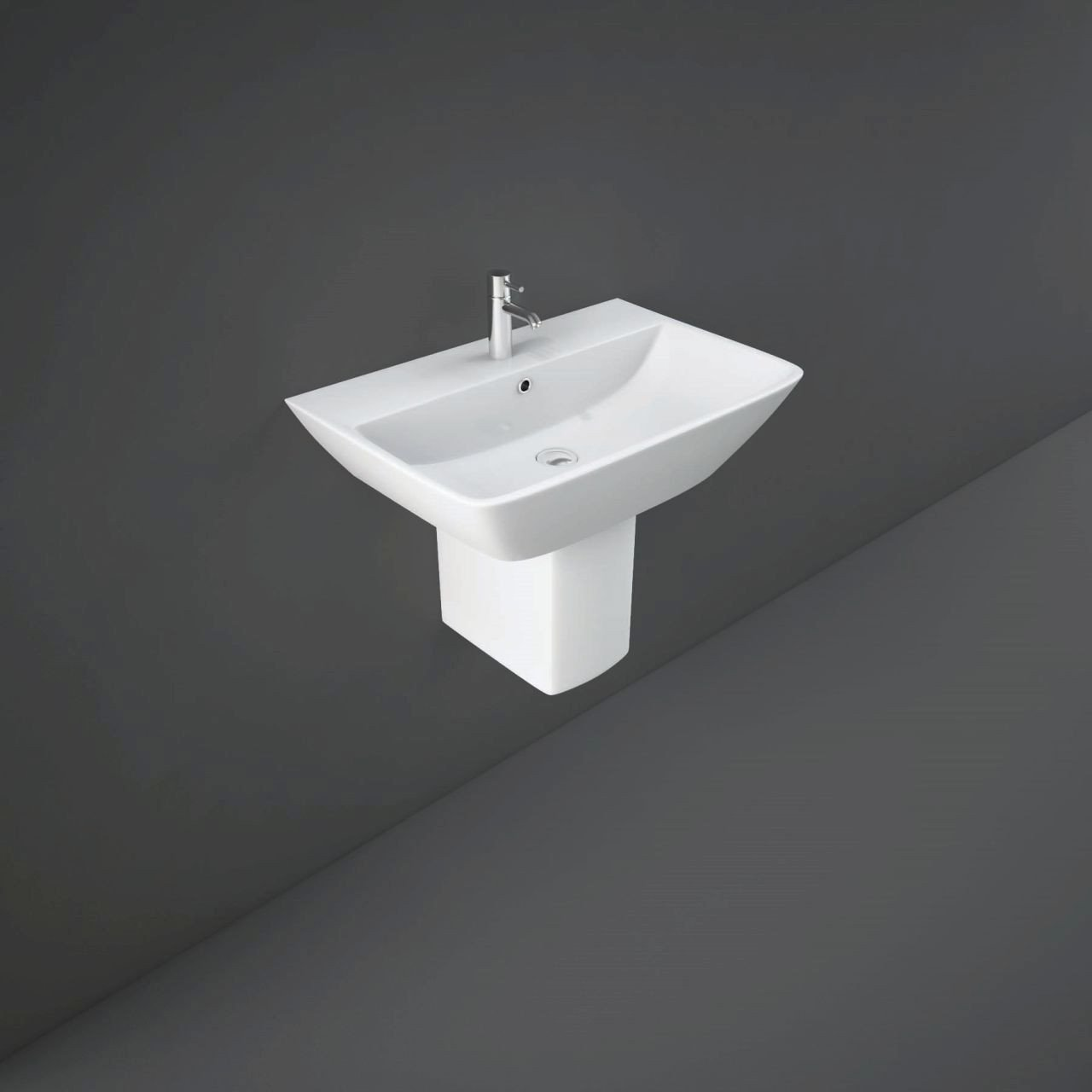RAK Summit 400mm Wall Hung Basin with 1 Tap Hole and Semi Pedestal