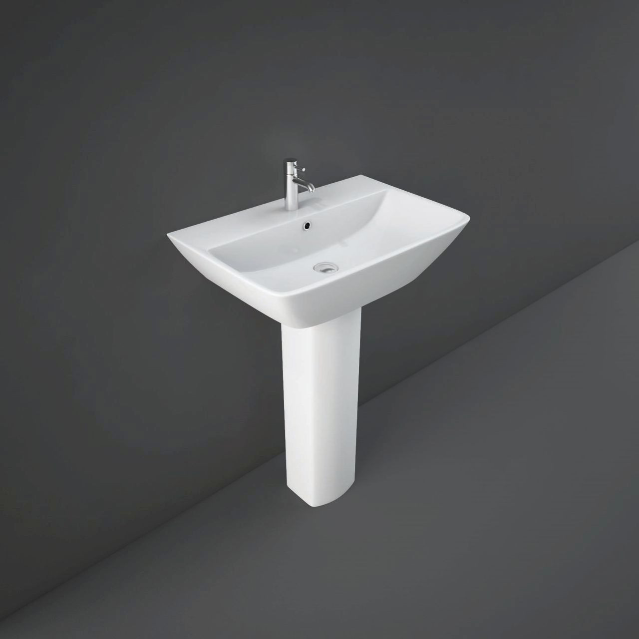 RAK Summit 600mm Wall Hung Basin with 1 Tap Hole and Full Pedestal