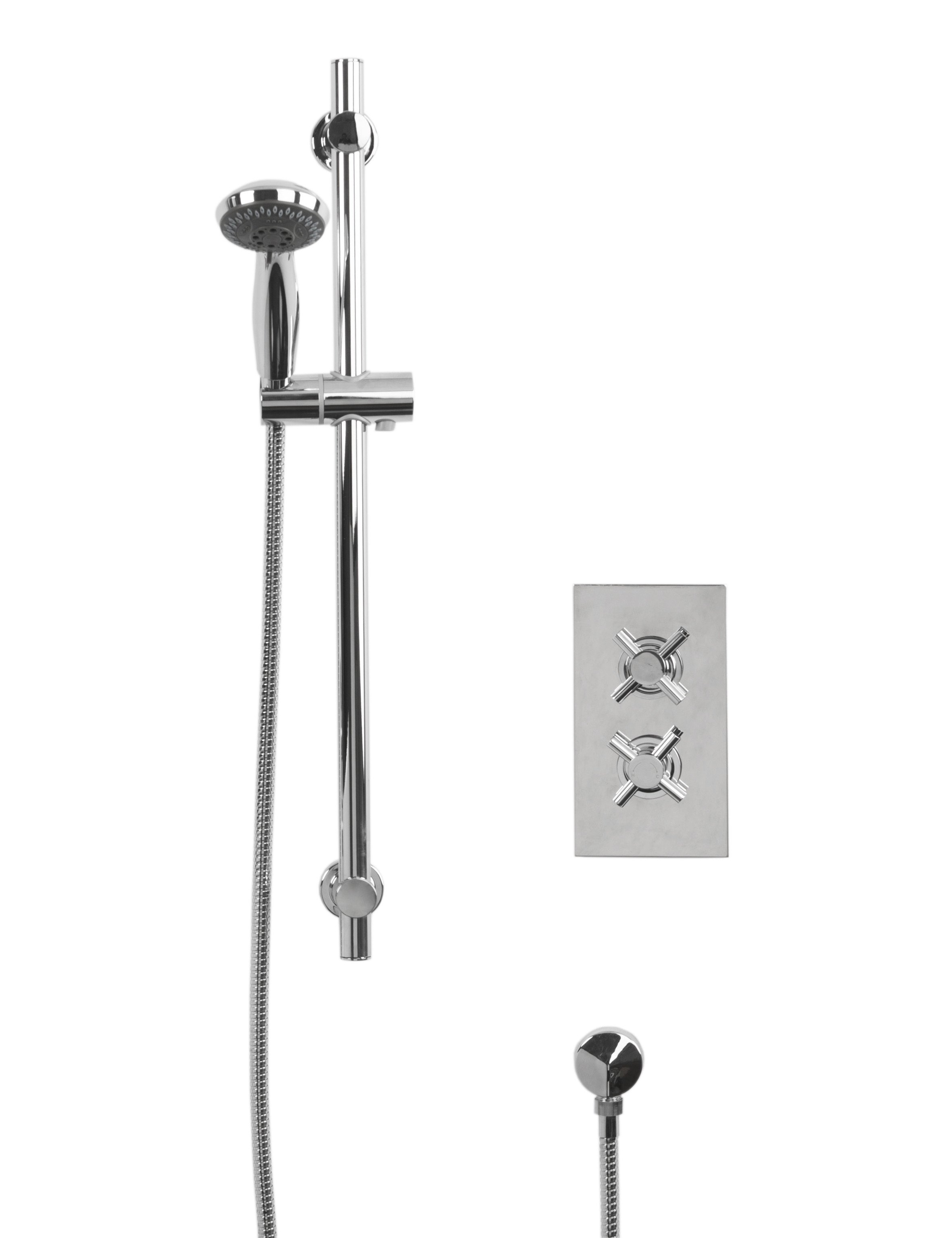 Cross Twin Thermostatic Valve With Clyde Slide Rail Kit & Round Shower Elbow