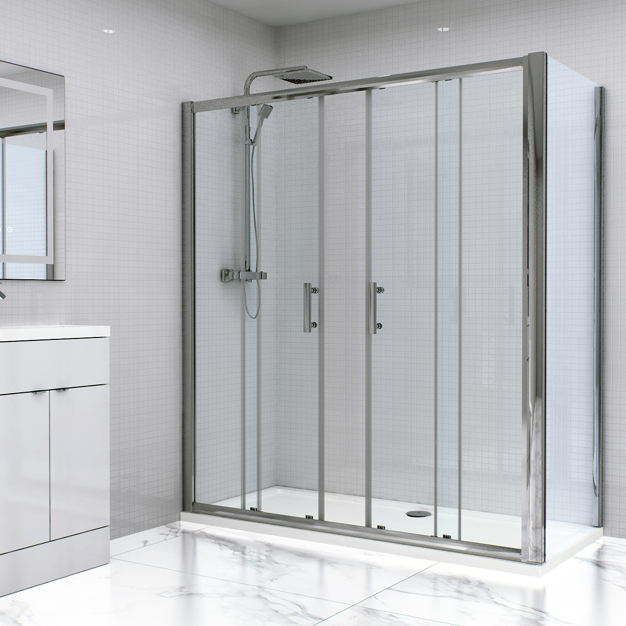 Series 6 1700mm x 760mm Double Sliding Door Shower Enclosure
