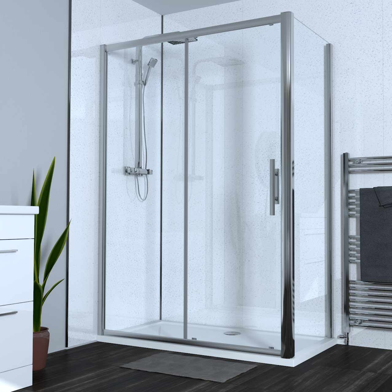 Series 8 Plus 1400mm x 760mm Sliding Door Shower Enclosure