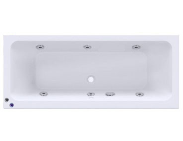 Square Centre Tap 6 Jet Chrome V-Tec Whirlpool Bath 1700x750mm