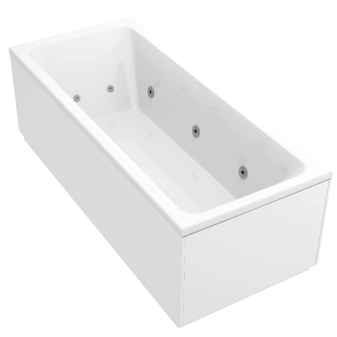 Square Centre Tap 12 Jet Chrome Flat Jet Whirlpool Bath 1700x750mm