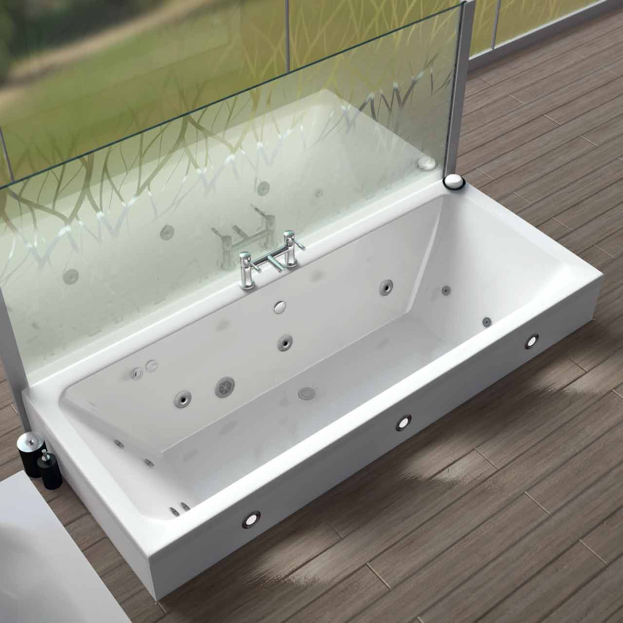 Square Centre Tap 12 Jet Chrome Flat Jet Whirlpool Bath 1800x800mm