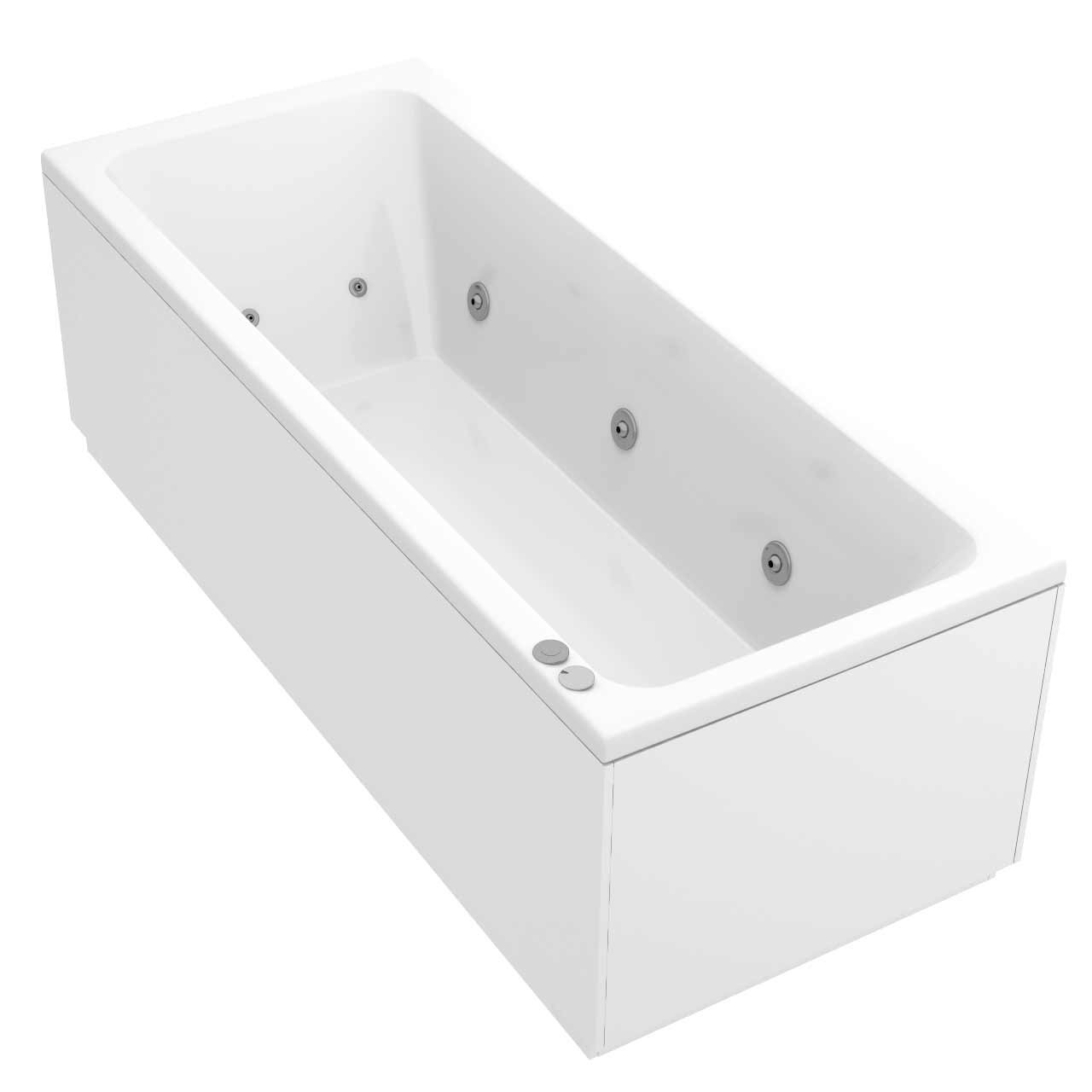 Square Centre Tap 12 Jet Chrome V-Tec Whirlpool Bath 1700x700mm
