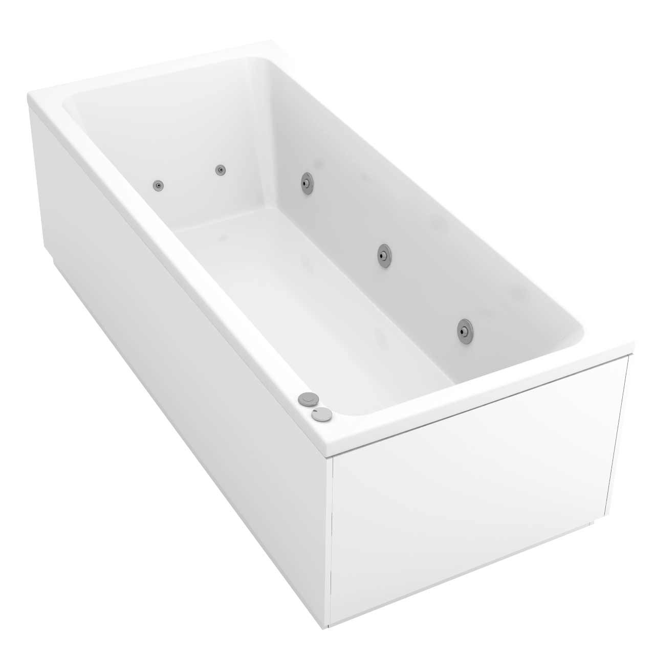Square Centre Tap 12 Jet Chrome V-Tec Whirlpool Bath 1800x800mm