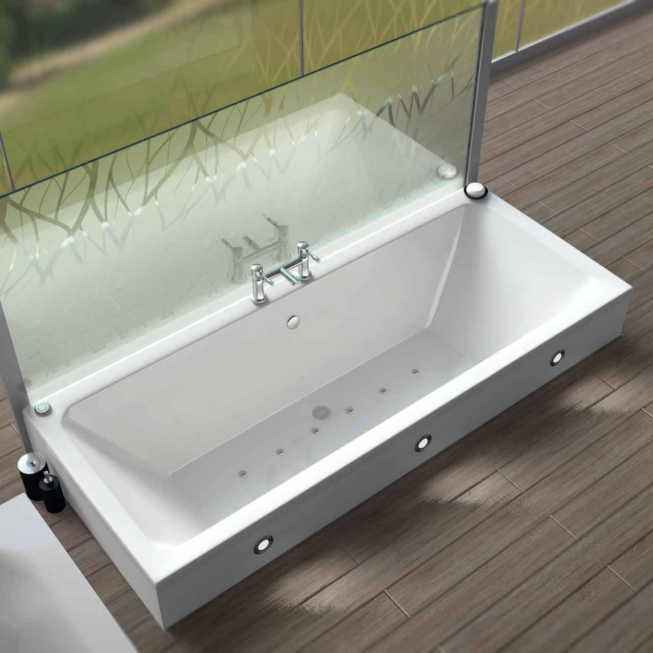 Square Centre Tap 12 Jet Easifit Spa Whirlpool Bath 1700x700mm