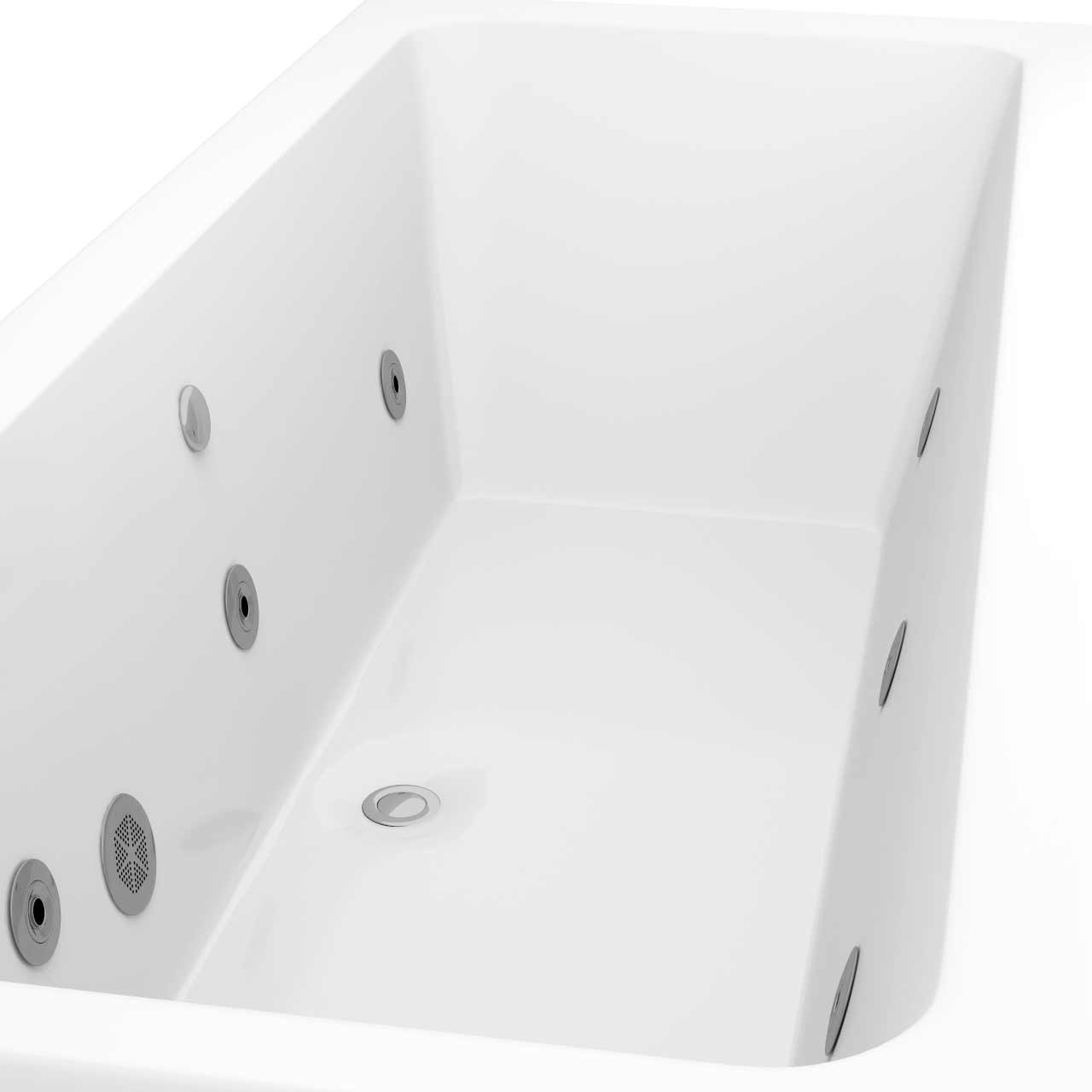 Square Centre Tap 6 Jet Chrome Flat Jet Whirlpool Bath 1700x700mm