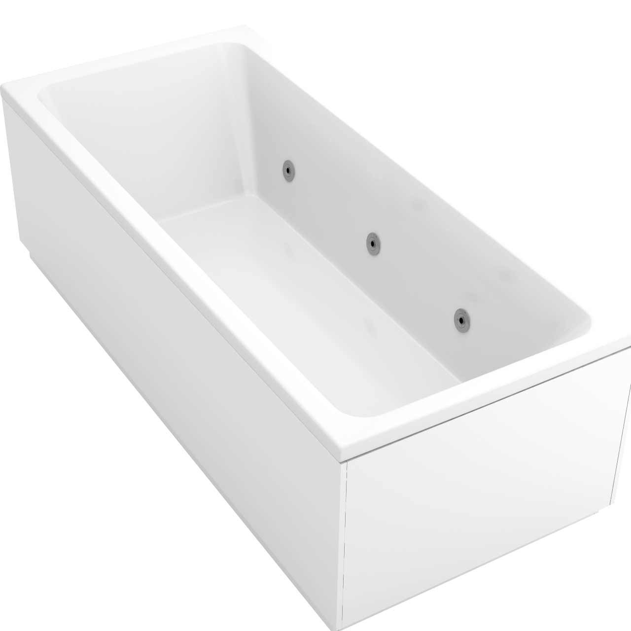 Square Centre Tap 6 Jet Chrome Flat Jet Whirlpool Bath 1800x800mm
