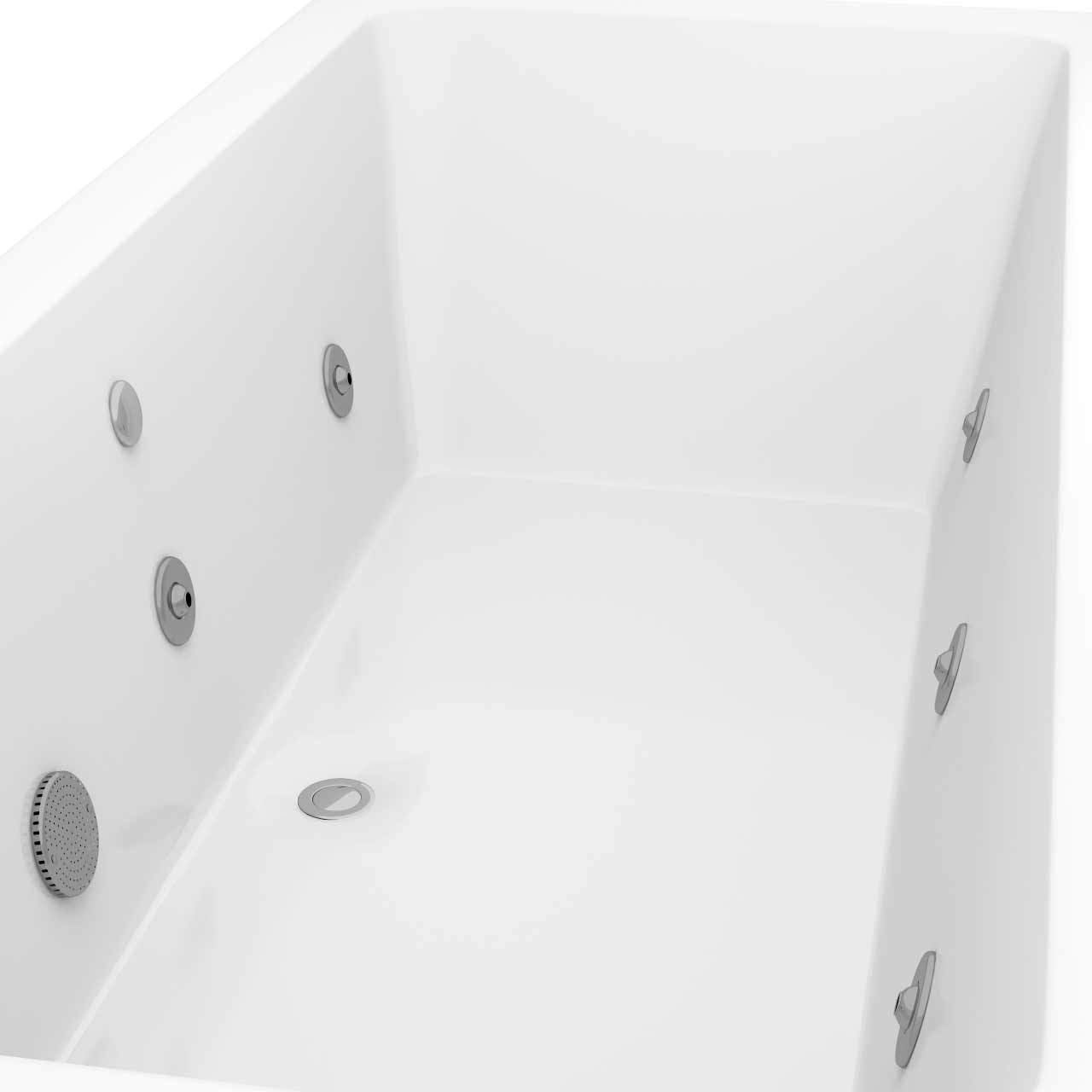 Square Centre Tap 6 Jet Chrome V-Tec Whirlpool Bath 1800x800mm