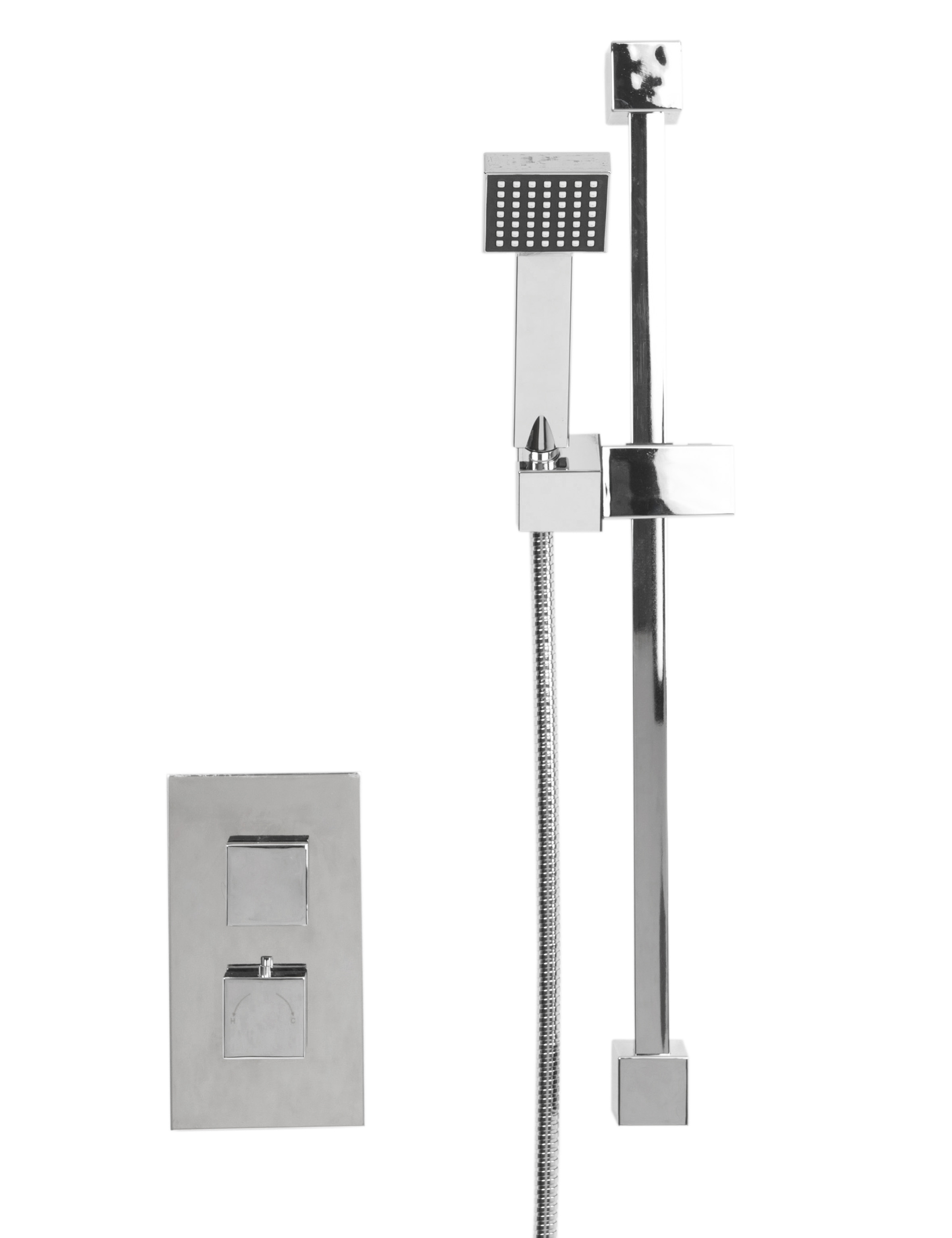 Cubix Twin Thermostatic Valve With Thames Slide Rail Kit & Square Shower Elbow