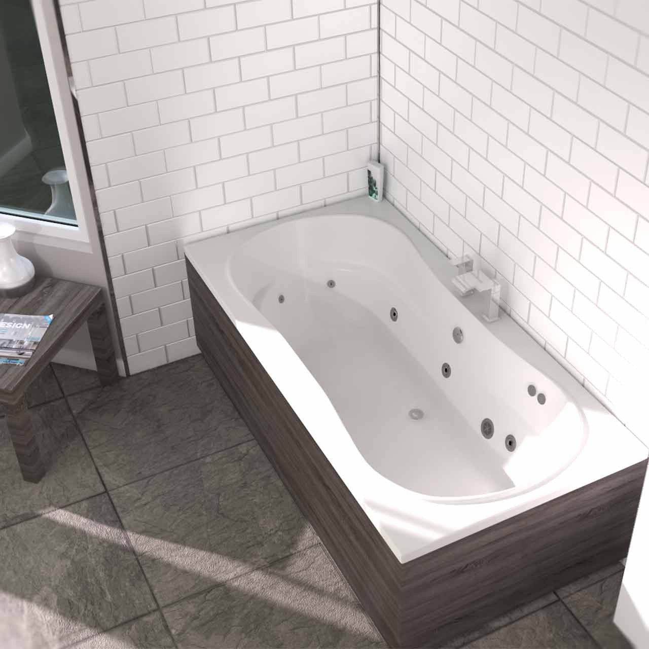 Strata Duo XL Centre Tap 12 Jet Chrome Flat Jet Whirlpool Bath 1800x900mm