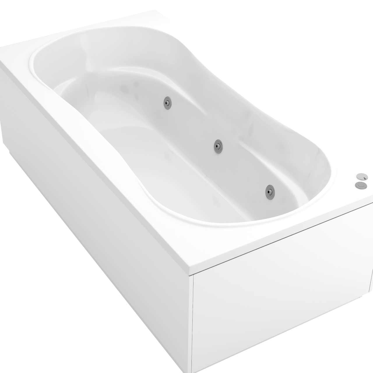 Strata Duo XL Centre Tap 6 Jet Chrome V-Tec Whirlpool Bath 1800x900mm
