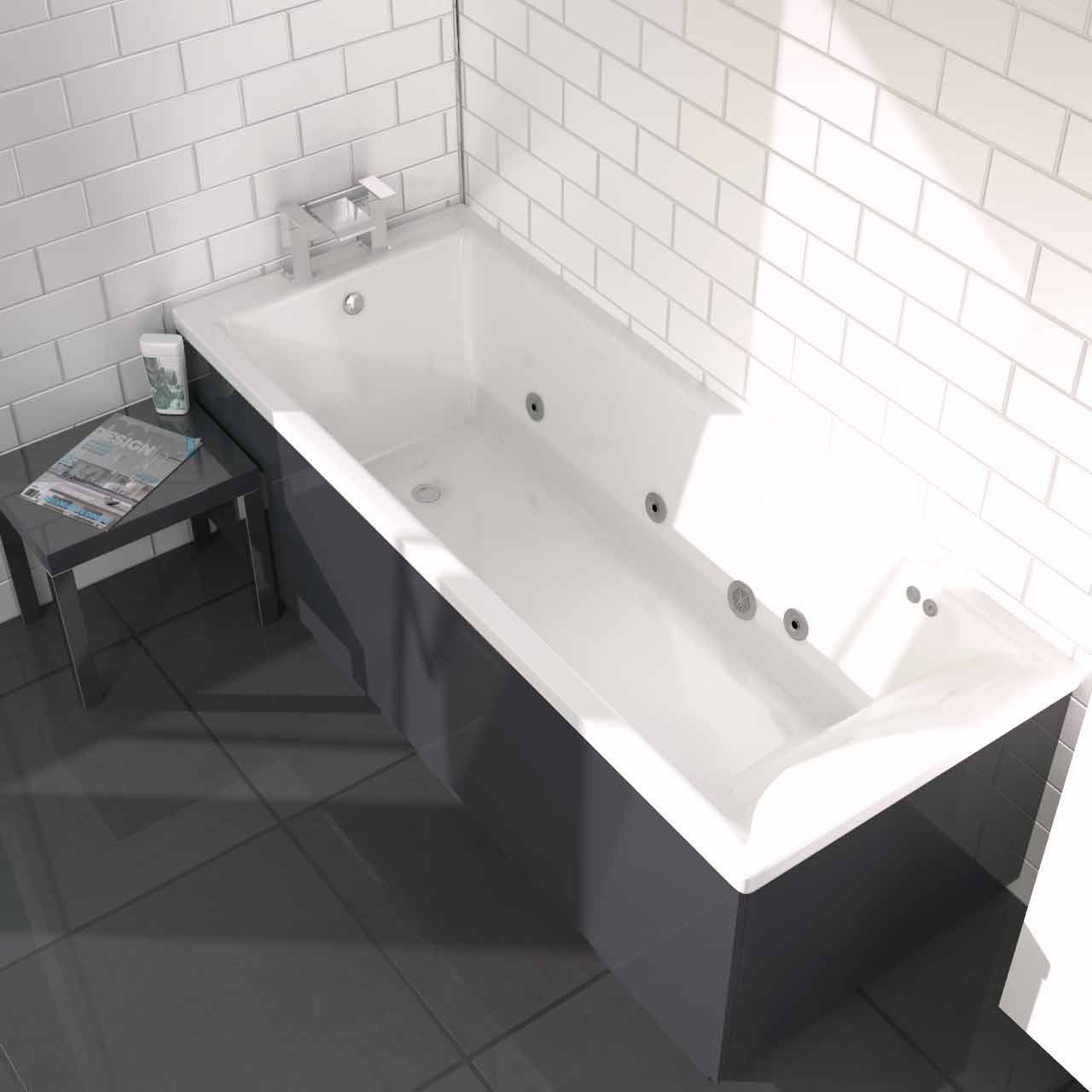 Summit End Tap 6 Jet Chrome Flat Jet Whirlpool Bath 1800 x 800