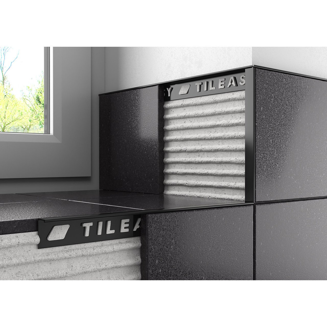 Tileasy 10mm Black Square Edge Metal Tile Trim - BAT10