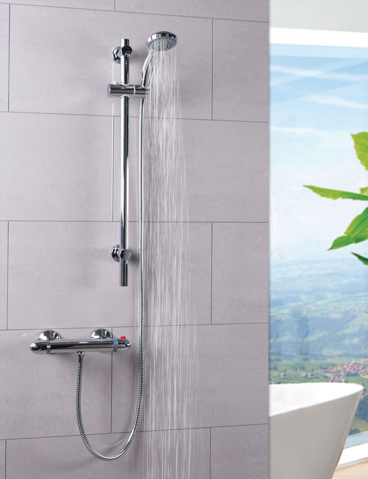Bullet Thermostatic Bar Valve Mixer Shower With Clyde Slide Rail Kit