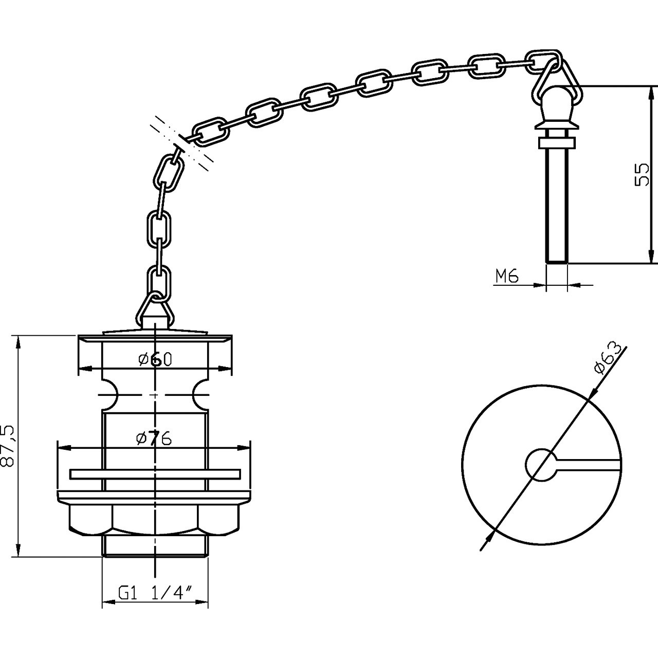 Ultra Basin Waste with Brass Plug and Link Chain - E353