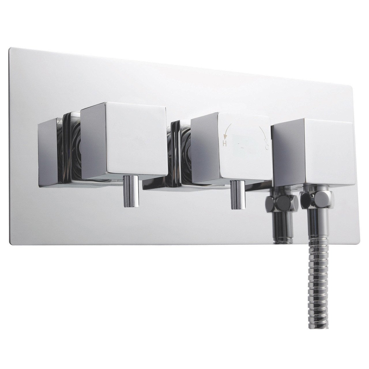Ultra Chrome Volt Thermostatic Twin Valve with Diverter and Outlet - A3077