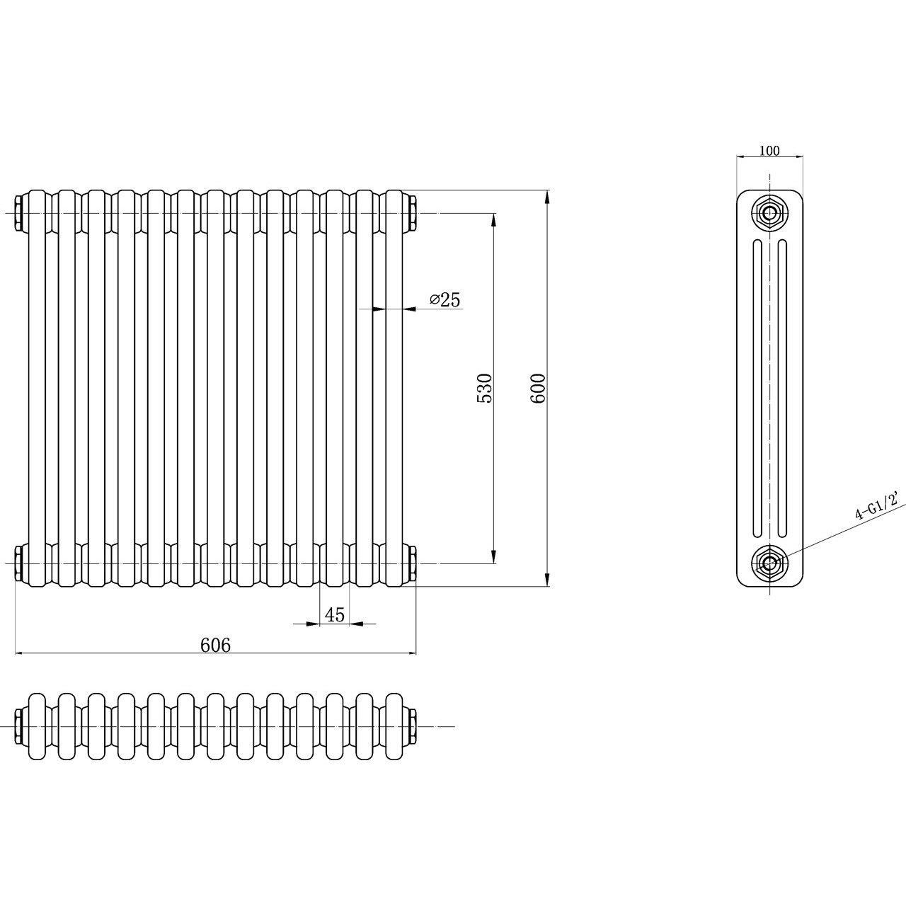 Ultra Colosseum Triple Radiator 600mm x 606mm - HX304