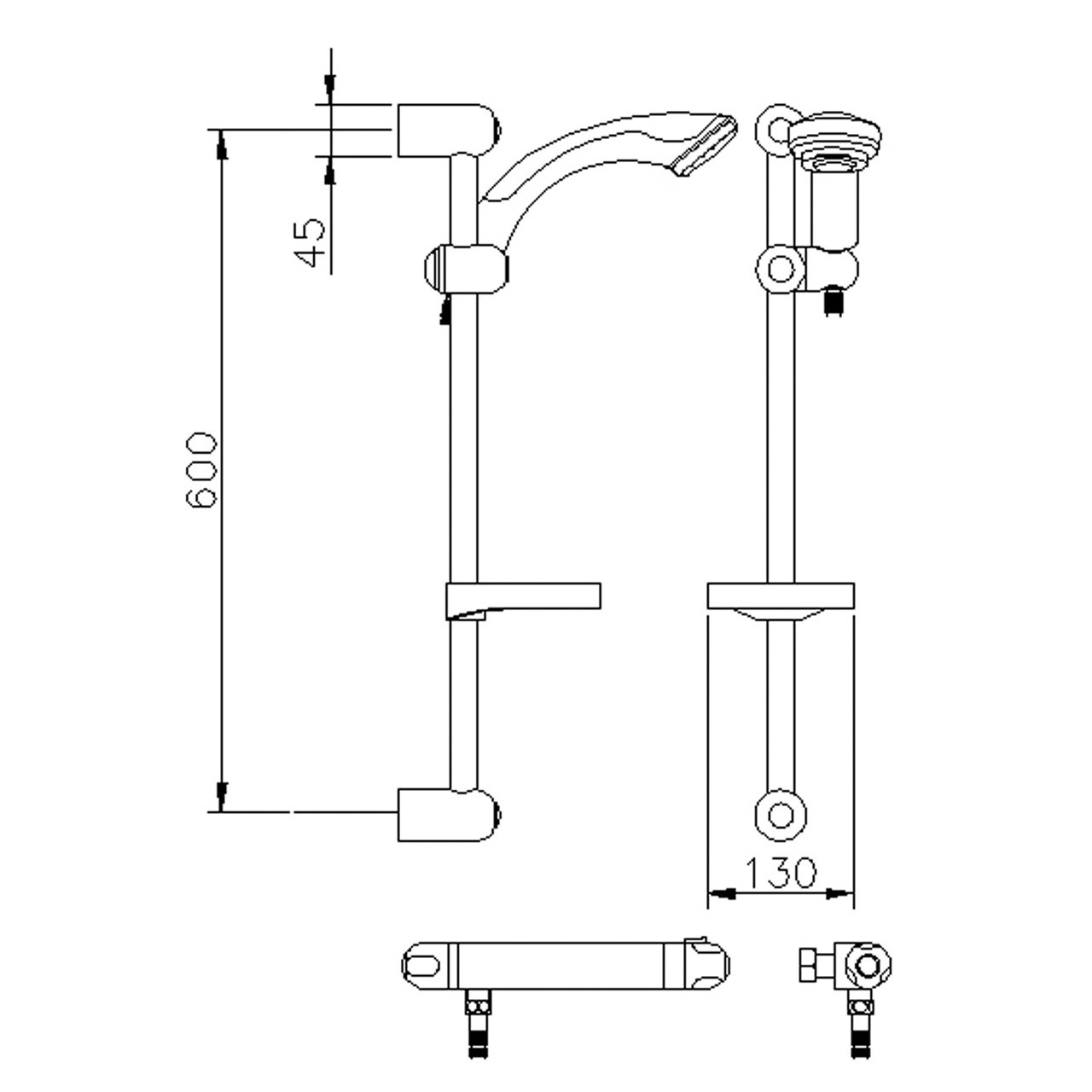 Ultra Dune Thermostatic Bar Valve with Slider Rail Kit - A3910