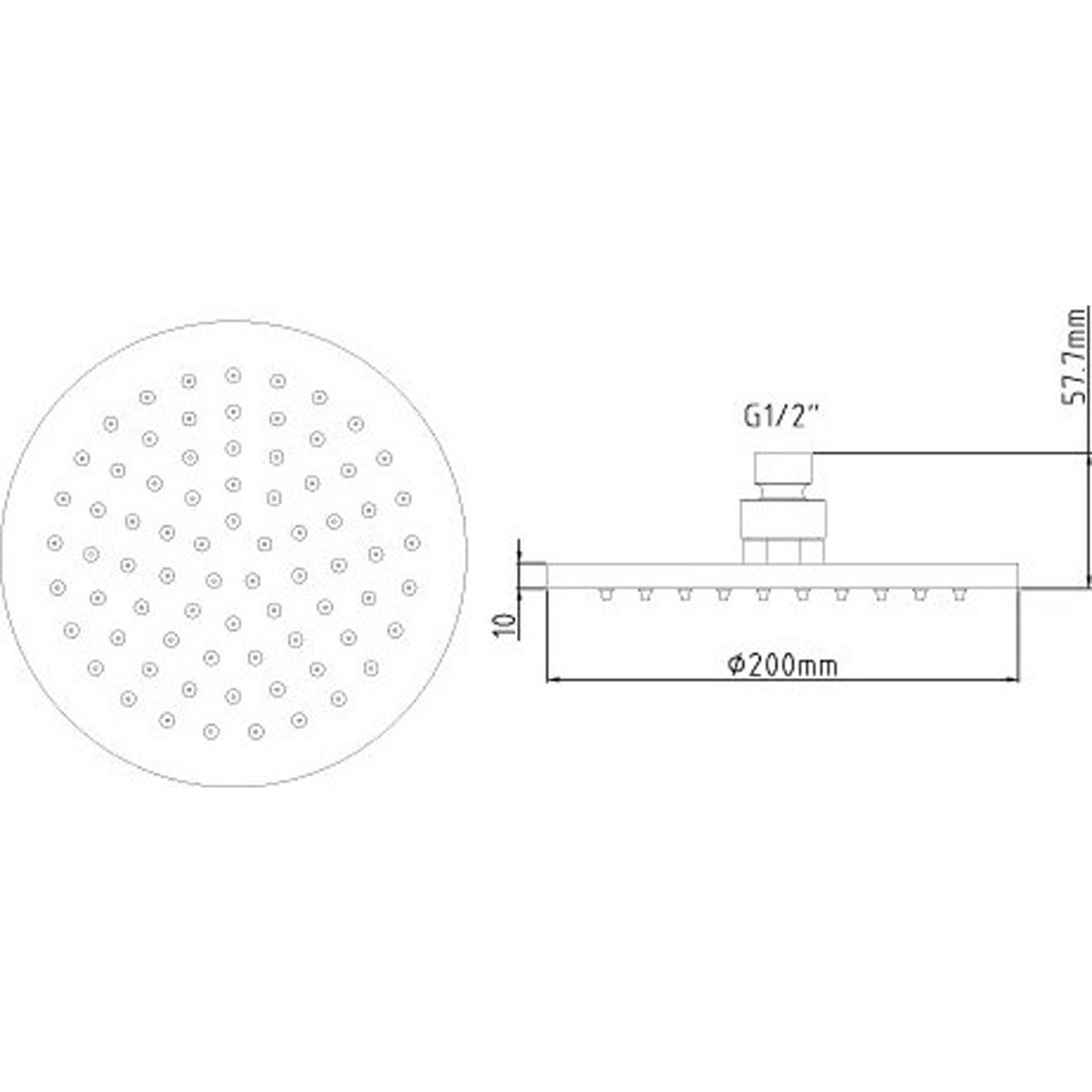 Ultra LED 200mm Round Fixed Shower Head - STY069