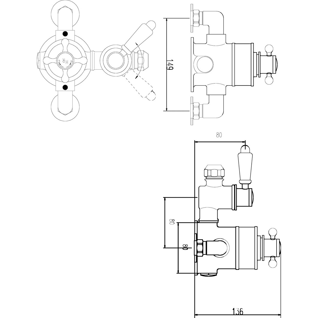 Ultra Traditional Twin Exposed Thermostatic Valve - A3099E