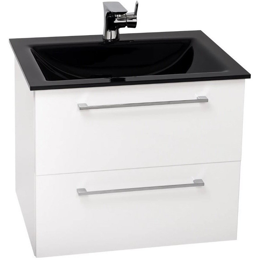 Venice Anthracite 600 Napoli Gloss White 2 Drawer Wall Mounted Unit & Basin