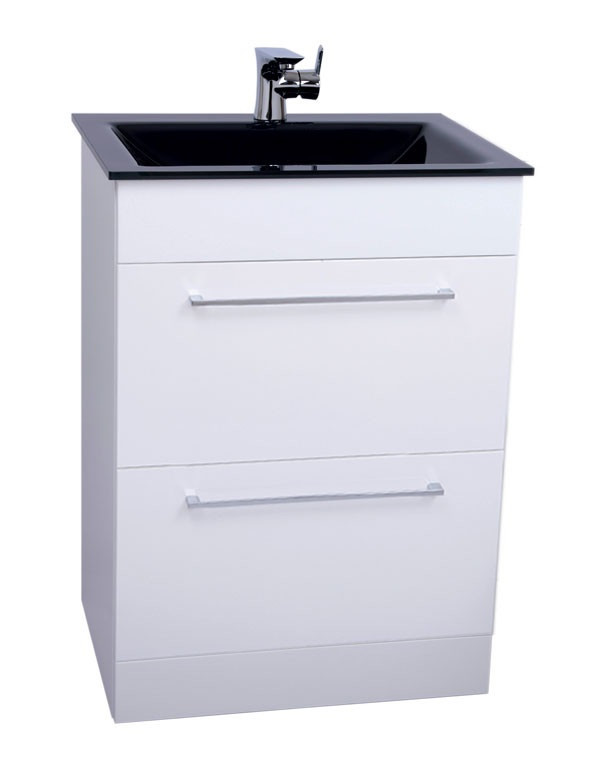 Venice Anthracite 600 Napoli Gloss White 2 Drawer Unit & Basin