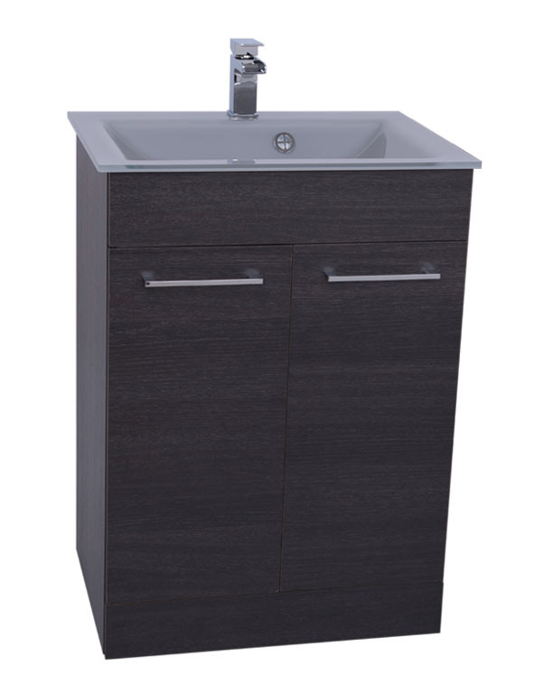 Venice Grey 600 Napoli Black Oak 2 Door Unit & Basin