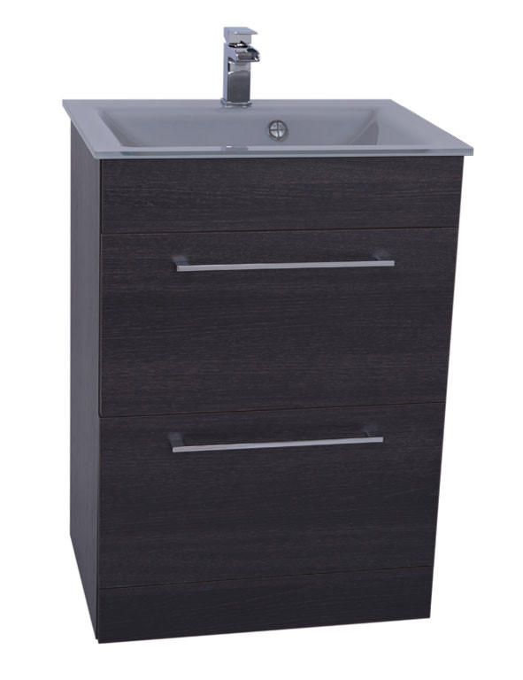 Venice Grey 600 Napoli Black Oak 2 Drawer Unit & Basin