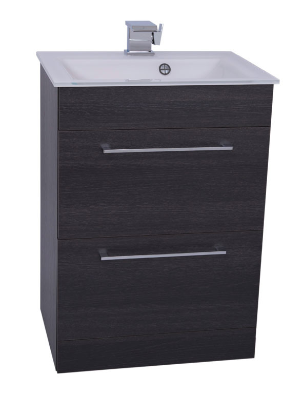 Venice White 600 Napoli Black Oak 2 Drawer Unit & Basin