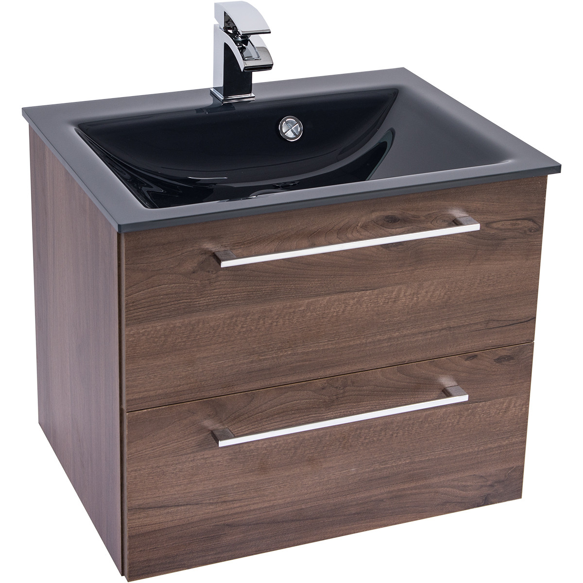 Venice Anthracite 600 Napoli Walnut 2 Drawer Wall Mounted Unit & Basin