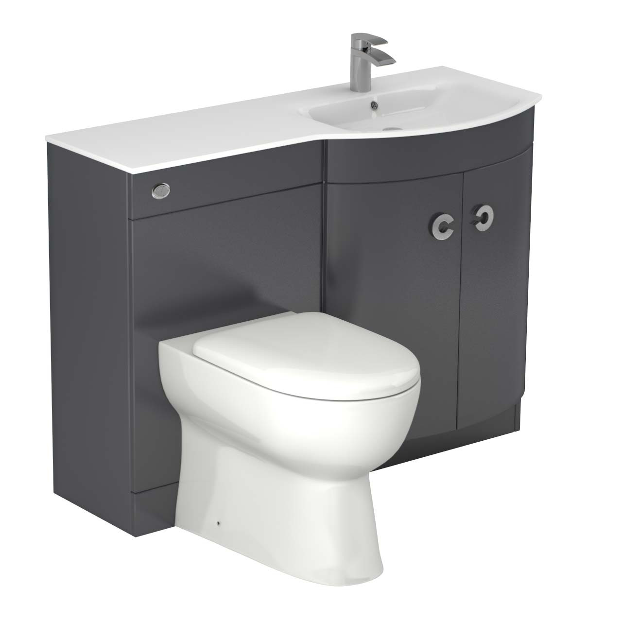 Venice Right Hand Curved White Glass 1100mm Grey Vanity Unit Toilet Suite