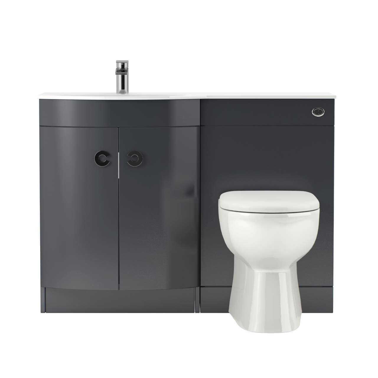 Venice Left Hand Curved White Glass 1100mm Grey Vanity Unit Toilet Suite