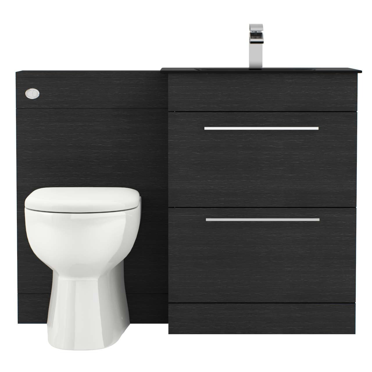 Venice Mono Anthracite Glass 2 Drawer Black Oak Vanity Unit Toilet Suite