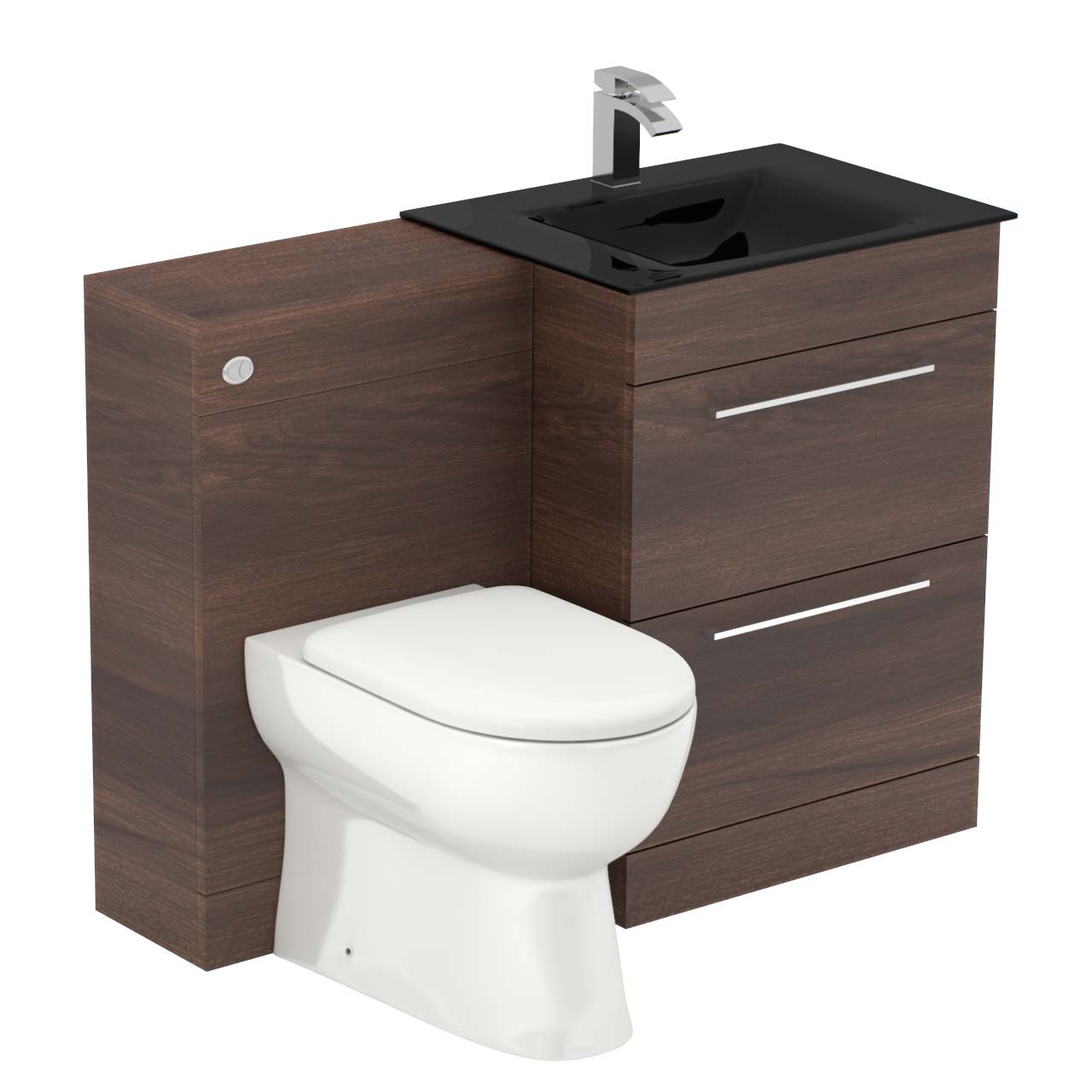 Venice Mono Anthracite Glass 2 Drawer Walnut Vanity Unit Toilet Suite