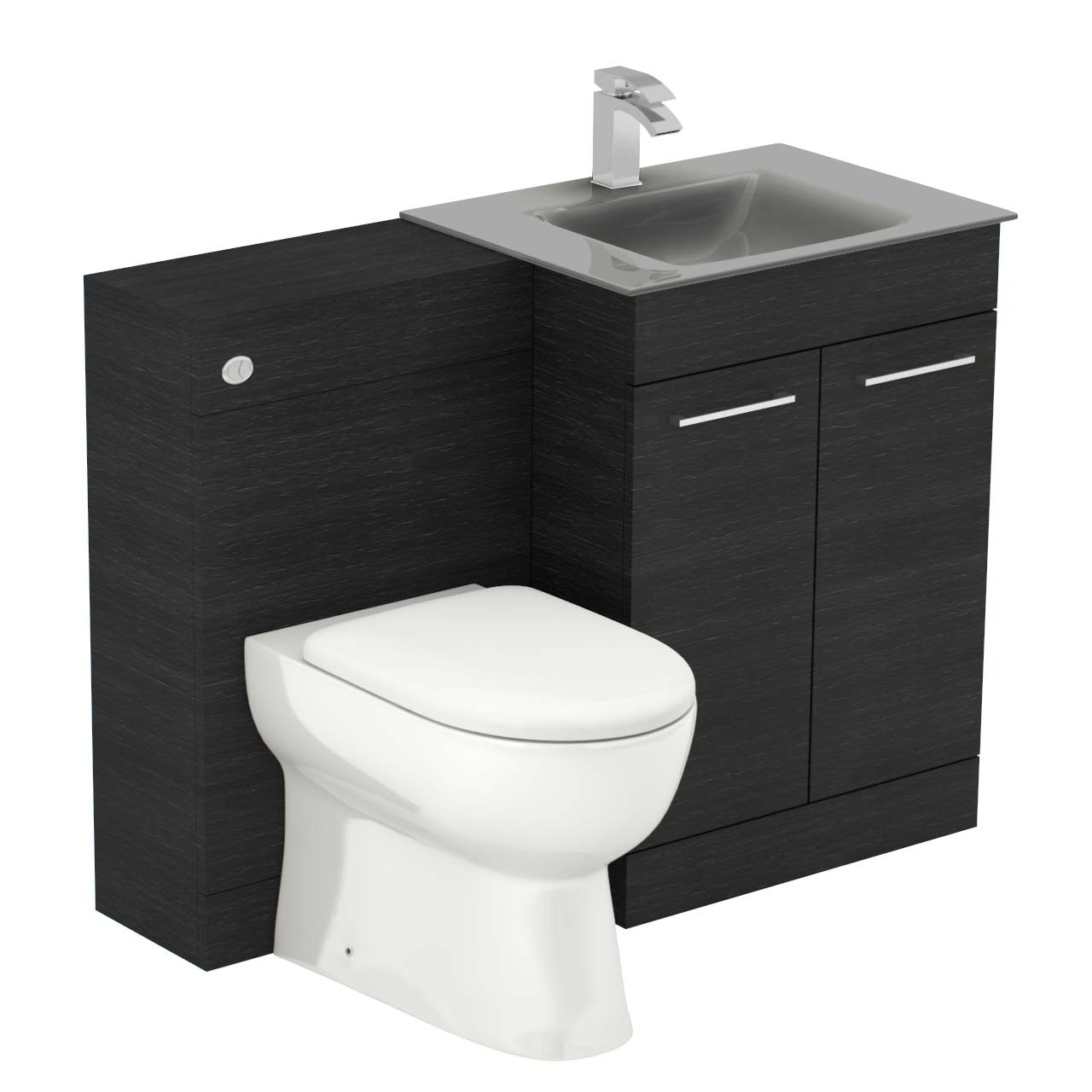 Venice Mono Grey Glass 2 Door Black Oak Vanity Unit Toilet Suite