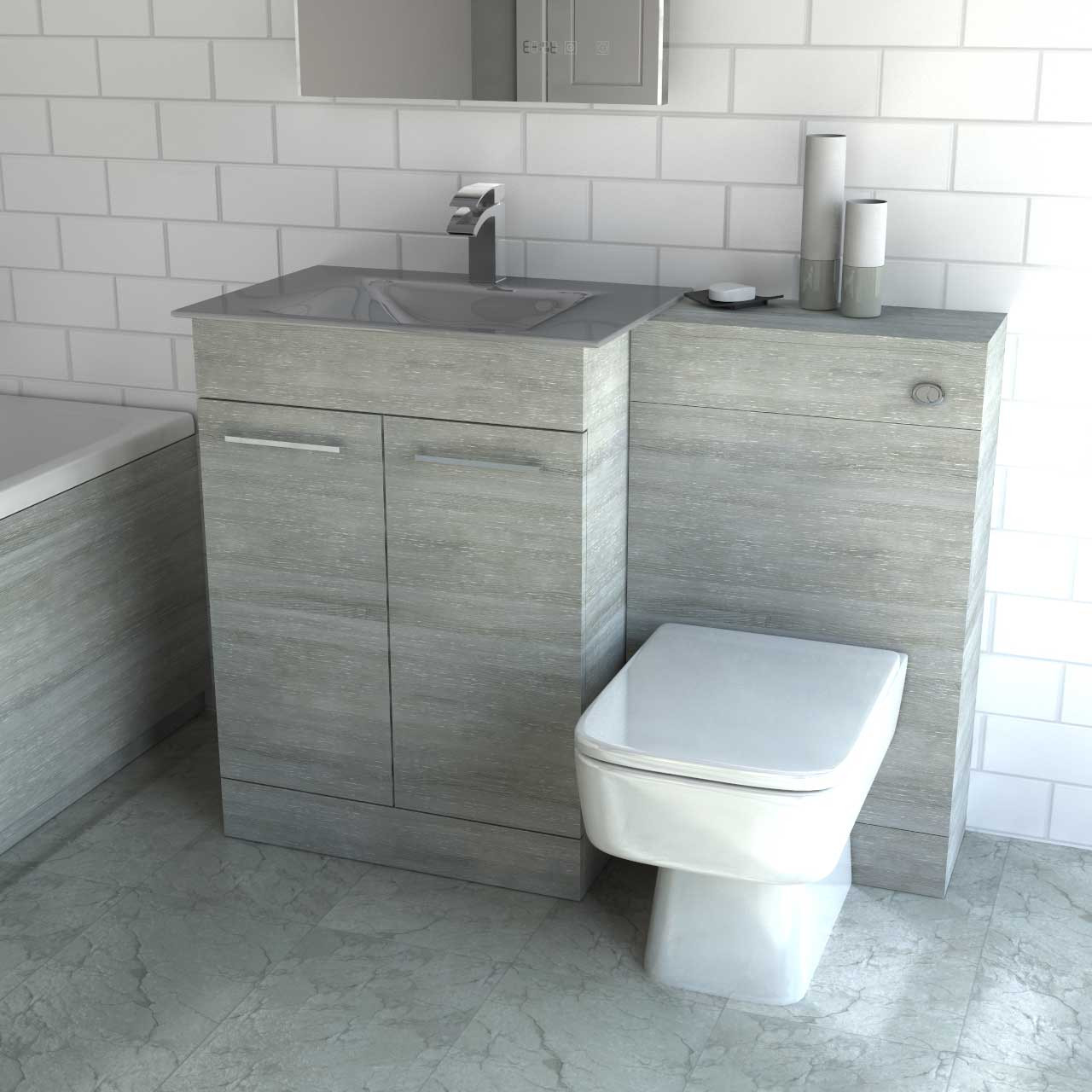 meet 49951 c3787 Venice Mono Grey Glass 2 Door Molina Ash Vanity Unit Toilet Suite