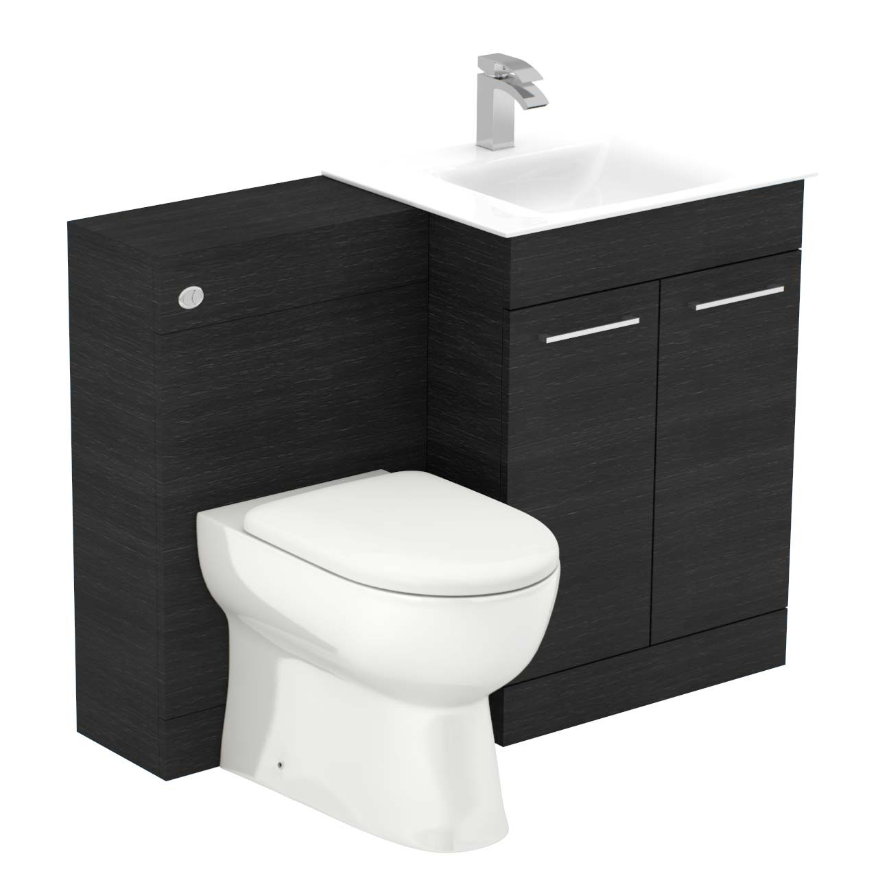 Venice Mono White Glass 2 Door Black Oak Vanity Unit Toilet Suite