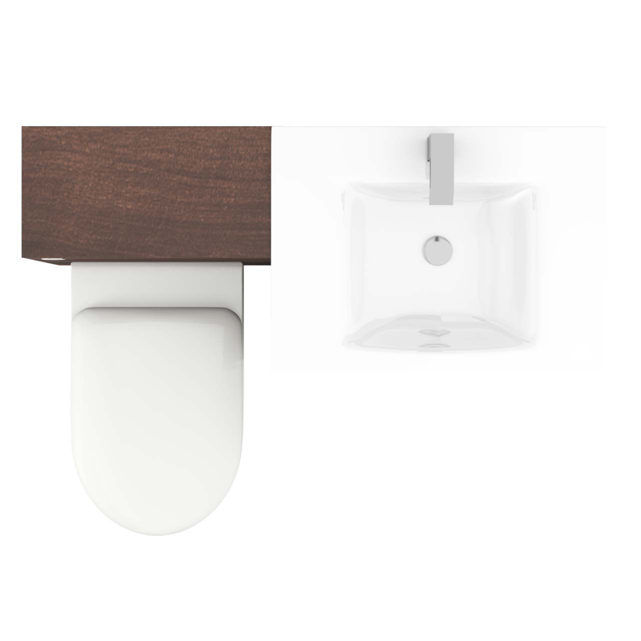 Venice Mono White Glass 2 Door Walnut Vanity Unit Toilet Suite